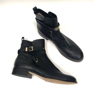 MICHAEL KORS Arley Black Leather Ankle Boots 10
